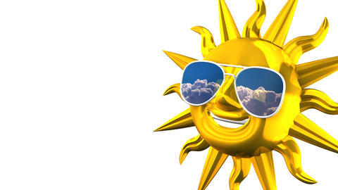 Golden Smiling Sun With Sunglasses On White Text Space CG動画