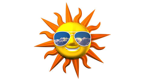 Smiling Sun With Sunglasses On White Background CG動画