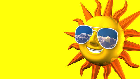 Smiling Sun With Sunglasses On Yellow Text Space CG動画