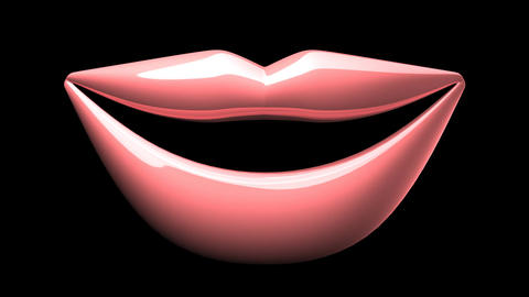 Kissing Pink Lips On Black Background CG動画素材