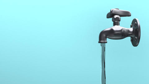 Faucet And Water OnBlue Background Animation
