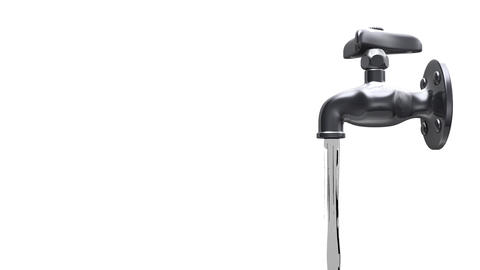 Faucet And Water On White Background CG動画