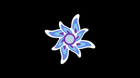 Spinning Blue Flower Animation Stock Video Footage