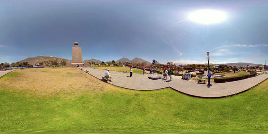 360Vr Tourists Taking Photos In Front Of Ciudad Mitad Del Mundo Monument In Footage