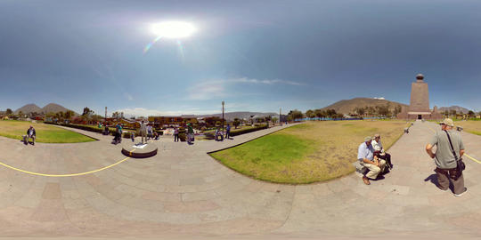 360Vr Tourists Visiting The Ciudad Mitad Del Mundo Monument At The Equator Line Footage
