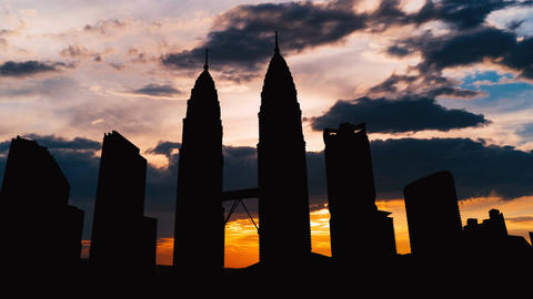Timelapse of Kuala Lumpur cityscape silhouette on sunset in Malaysia Footage