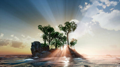 Sun beams through Trees at rocky island in ocean at sunset Live Action