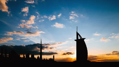 Timelapse of Dubai cityscape silhouette on sunset in UAE Footage