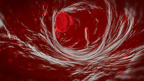 3D blood cells traveling through a vein. Red blood cells flowing in artery ビデオ
