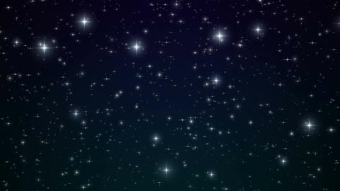 Stars in the Blue Night Sky. Looped Animation. Beautiful Night with Twinkling Animation