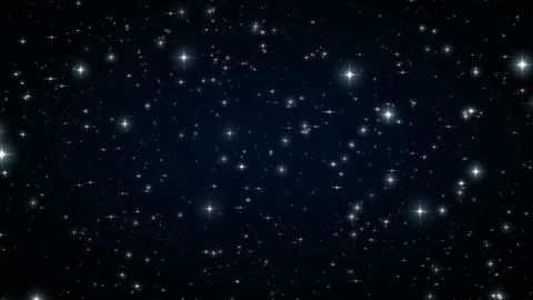 Stars in the Black Night Sky. Looped Animation. Beautiful Night with Twinkling Animation