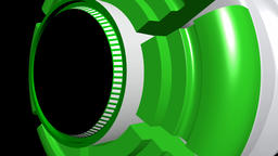Fiction background with rotating cylinder green white CG動画素材