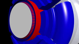 Fiction background with rotating cylinder white red blue. 3d rendering Animation