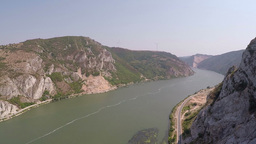 Aerial shot of a very wide Danube river Footage
