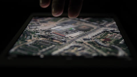 Ungraded: Satellite Map On Tablet Computer stock footage