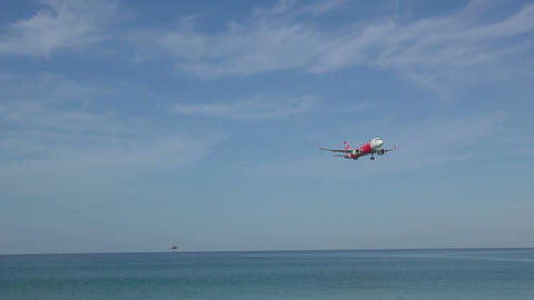 Airbus 320 approaching over ocean Footage