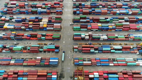 Aerial view of container ship in import export and business logistic Footage