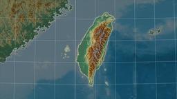 Taiwan and neighborhood. Relief Animation