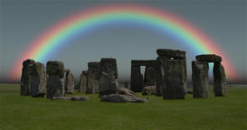 4K Footage of a rainbow over Stonehenge, Shot on a typical grey rainy day in Footage