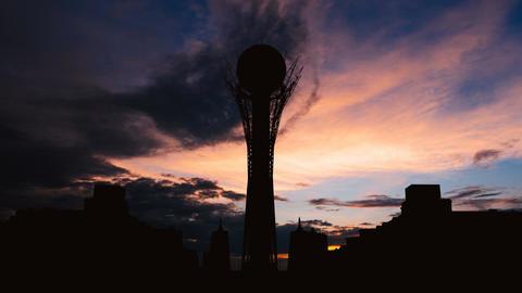 Timelapse of silhouette Bayterek tower in Astana capital of Kazakhstan on Footage