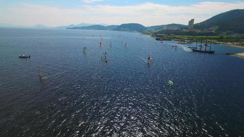 yeosu coast aerial windsurfing Archivo