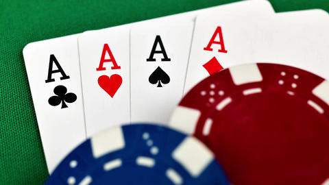 Four Aces And Poker Chips Footage