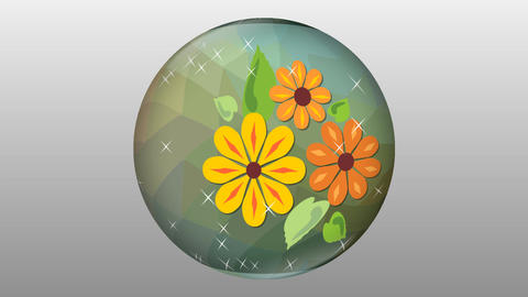 Sparkling glass ball with the flower motif rotating on gray background. Abstract Animation