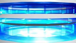 Abstract transparent tower cyan blue. 3d rendering Animation