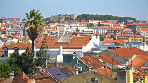 Aerial View Of Lisbon City In Portugal ビデオ