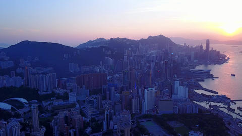 Hong Kong cityscape at sunset, panoramic aerial shot from Happy Valley Footage