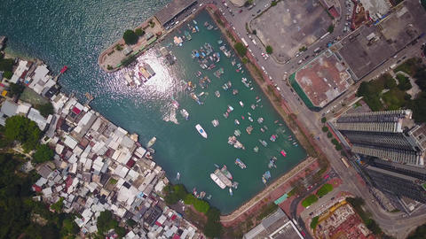 Typhoon shelter at east end of Victoria Harbour, between urban area and slums Footage