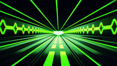 3D Green Sci-Fi Tron Tunnel Loopable Motion Background Animation