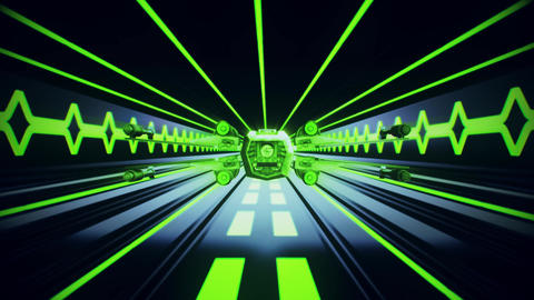 Spaceship Flight inside a Sci-Fi Green Tunnel Motion Background Animation