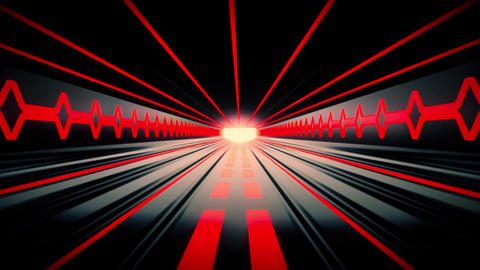 3D Red Sci-Fi Tron Tunnel Loopable Motion Background Animation