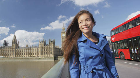 Young Urban Female Professional On Westminster Bridge London Footage