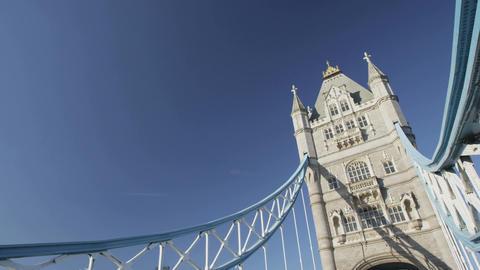 London Tower Bridge Famous Landmark and Tourist Destination Live Action