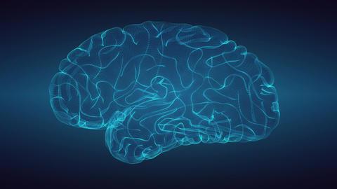 Glowing brain over graduated dark background Animación