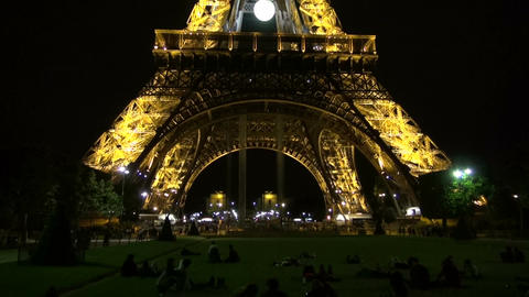 Eiffel tower in Paris by night, France Footage