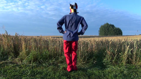 funny farmers with clown cap morning exercise Archivo
