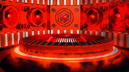 Fiction background red black with cylinder and lamps with glows Animation