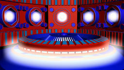 Fiction background red blue with cylinder and lamps with glows. 3d rendering Animation