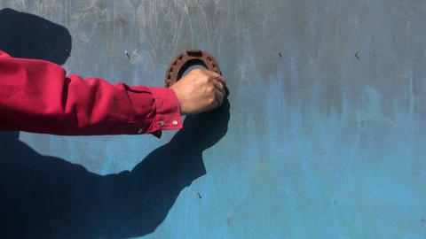 hanging rusty horseshoe and medical herb bunch on wooden wall Footage