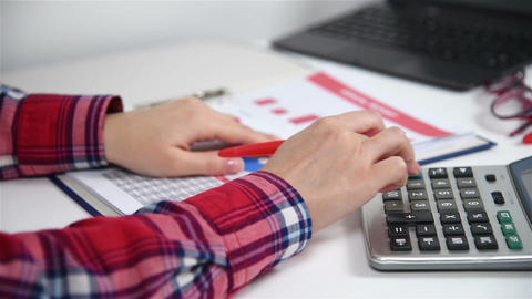 Accountant Businesswoman Working Live Action