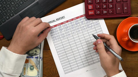 Accountant Fills Report Live Action