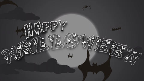 Halloween Text Animation With Flying Bat 画像