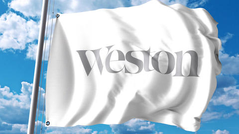Waving flag with George Weston Limited logo against clouds and sky. 4K editorial Footage