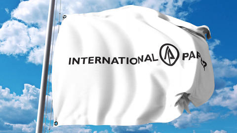Waving flag with International Paper Company logo against clouds and sky. 4K Live Action