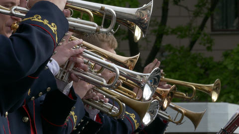 4K Ungraded: Brass Band Performs Jazz in Open Air Live Action
