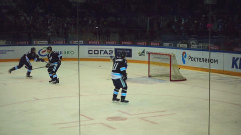 Hockey players in the warm-up Footage