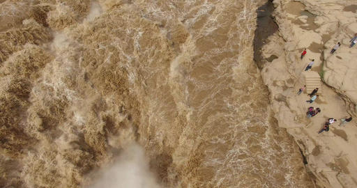 Aerial of hukou waterfall ビデオ